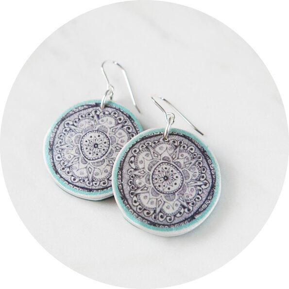 green henna art mandala earrings NEXT ROMANCE