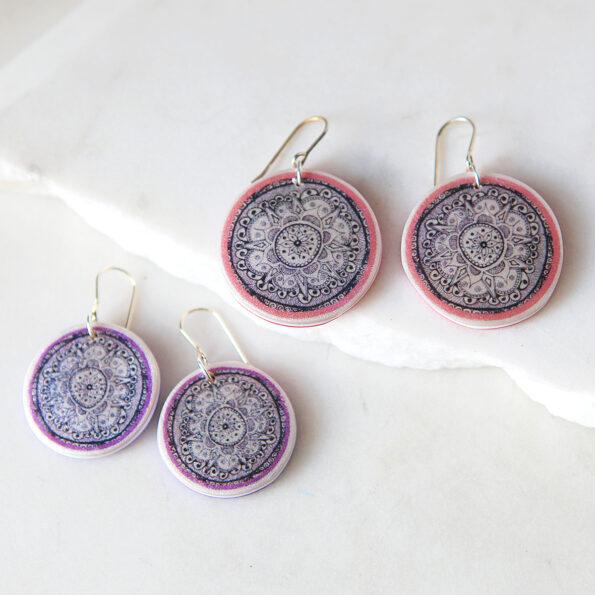 mandala 25 and 30mm henna earrings next romance UK artist collab