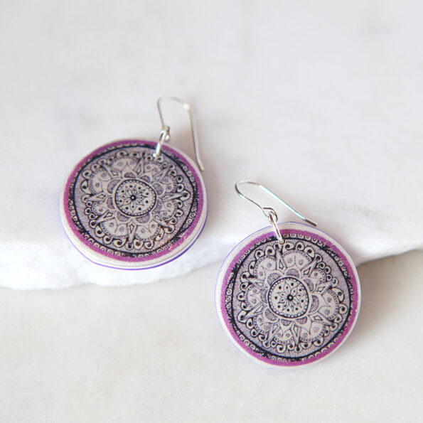 mandala henna design lilac art earrings boho unique next romance jewellery made in australia