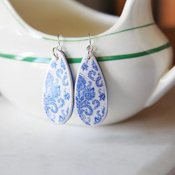 porcelain jug teardrop earrings new silver next romance jewellery australia