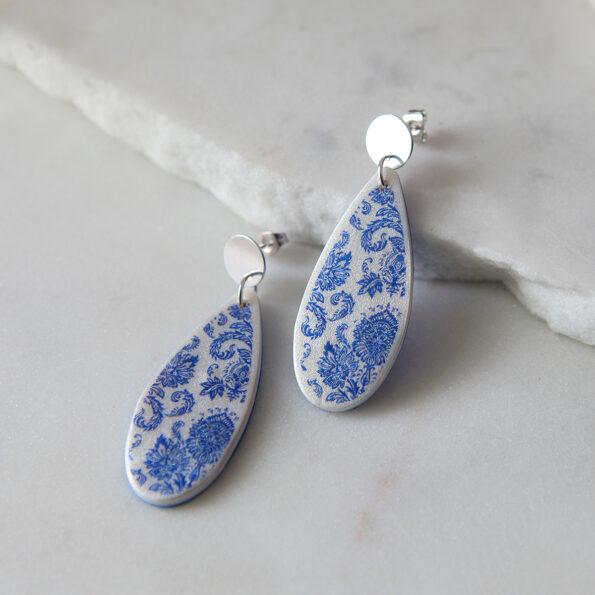porcelain print teardrops silver earrings new next romance jewellery australia studs