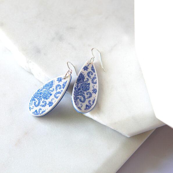 porcelain print teardrops silver earrings new next romance jewellery australia