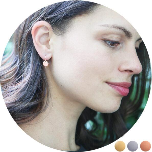 8mm 6mm rose gold minimal fine rose gold coin earrings Australian design NEXT ROMANCE unique jewelry