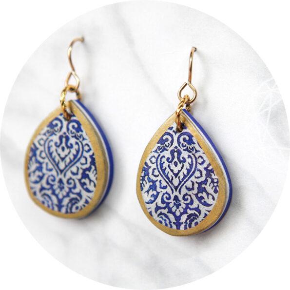 blue petite crop morocco teardrop art earring