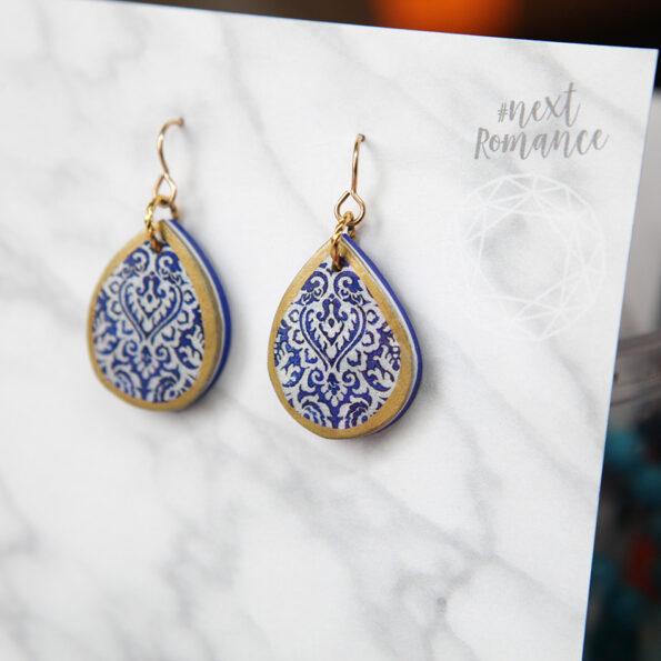 blue petite morocco teardrop art earring by Next Romance NEW jewellery handmade in Australia