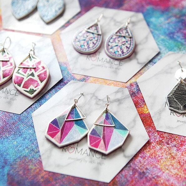 facet triangle earrings next romance jewelry australia colourful unique design contemporary