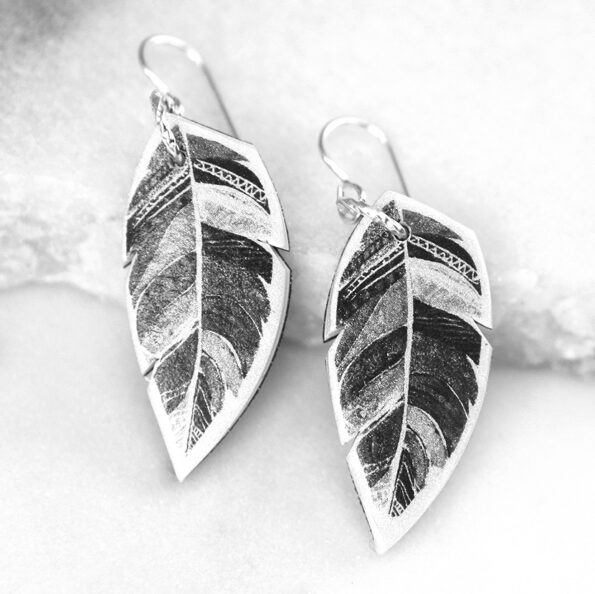 feather art earrings black and white unique handmade modern funky indie independent next romance jewellery vicki leigh
