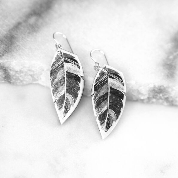 feather art earrings spirit black and white unique handmade modern funky indie independent next romance jewellery vicki