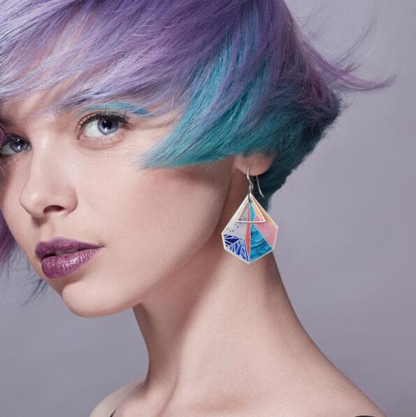 summer peach triangle snowflake art silver earrings NEW next romance jewellery australian made