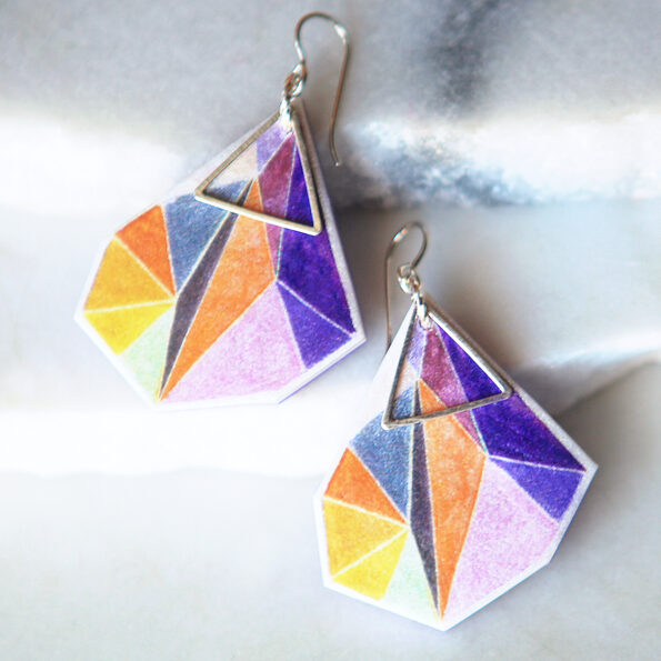 next romance jewellery lilac triangle art earrings unique handmade in melbourne australia make it collective finders keepers markets
