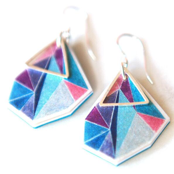 ocean rose faceted shape geo earrings sterling silver NEXT ROMANCE jewellery australian designs