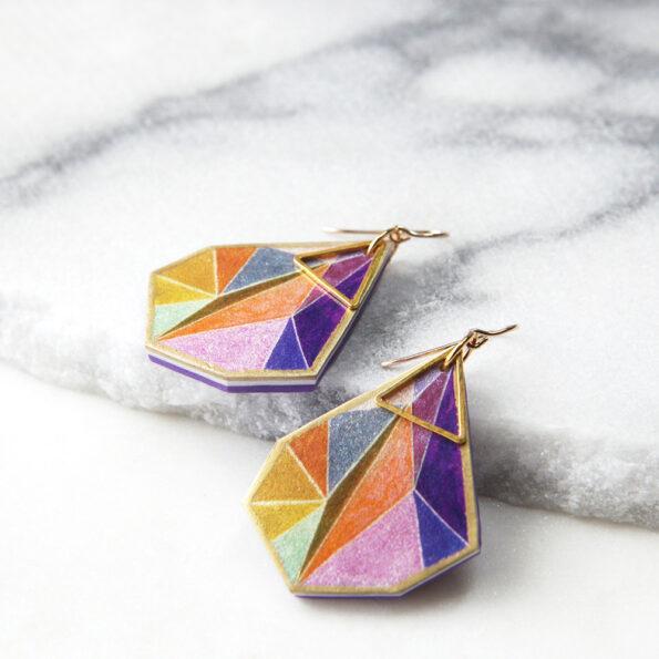 orange gold 5cm statement earrings next romance triange geometric light