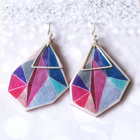 pink blue teal next romance illustrated Triangle Art Earrings signature