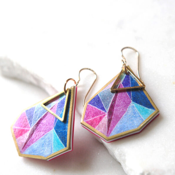 Gorgeous next romance illustrated Triangle Art Earrings signature