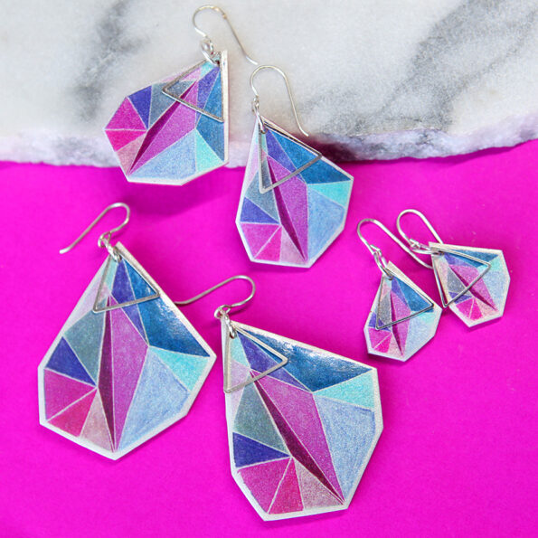 pink triangle art pink bgd NEXT romance jewellery australia funky earrings