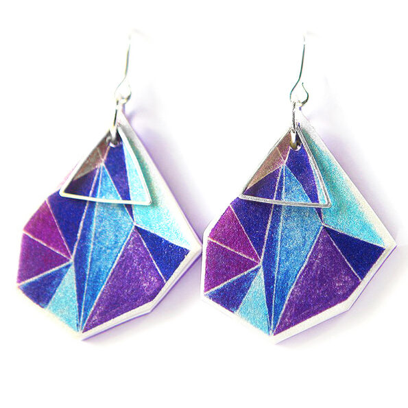 purple blue teal next romance illustrated Triangle Art Earrings signature