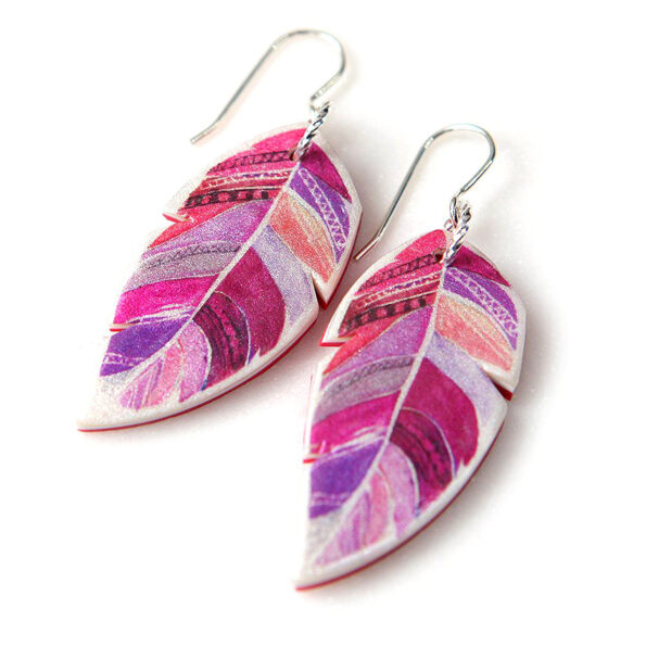 red pink feathered boho original unique art earrings watercolour next romance vicki leigh new melbourne designed made in australia make it collective design a space jewellery etsy finders keepers rose street artist markets