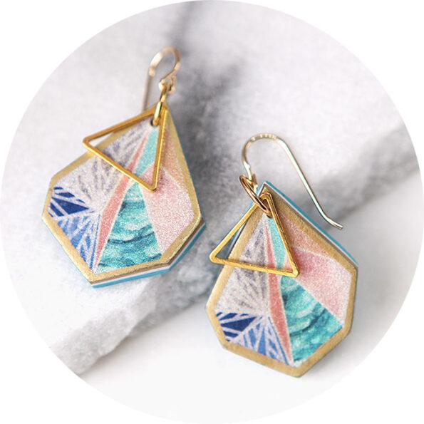 small gold peach triangle art earrings NEXT ROMANCE