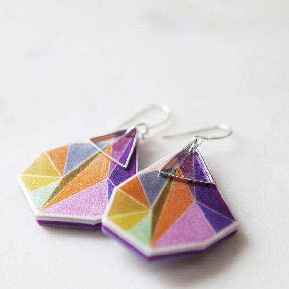 orange triangle art earrings silver