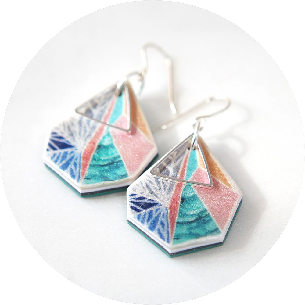 Gorgeous geometric illustrated snowflake design. Silver triangle art earrings pink teal by next romance australian unique designer jewellery made in melbourne