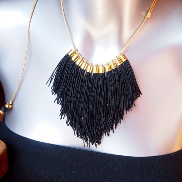 black fringe tassel necklace NEXT ROMANCE jewellery australia unique