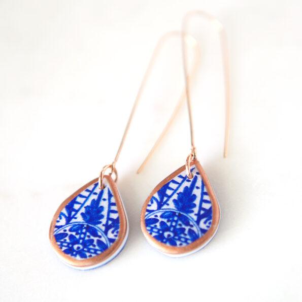 blue morocco porcelain style art tile earrings finders keepers next romance unique original australian jewellery