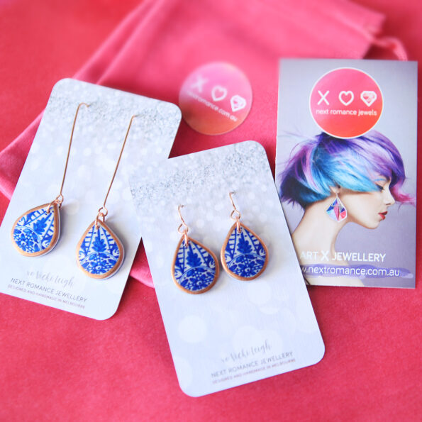 blue morocco porcelain style art tile earrings finders keepers next romance unique original australian jewellery copper rose gold packaging