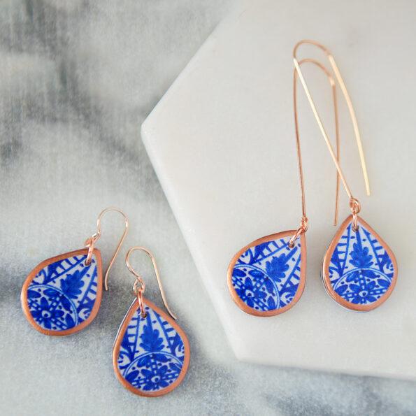 copper rose gold blue morocco porcelain style art tile earrings finders keepers next romance unique original australian jewellery