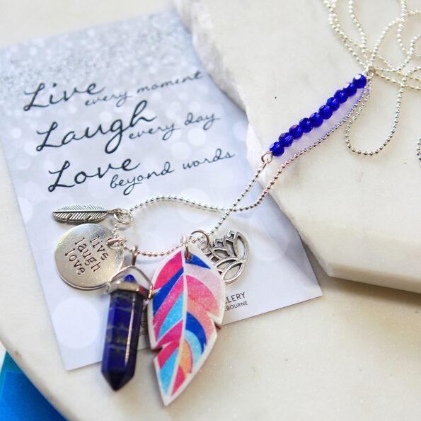 lapis feather cluster gem necklace next romance jewellery