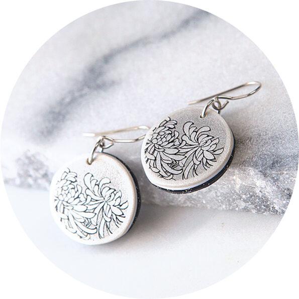small crysanthemum art earring delicate next romance jewellery design