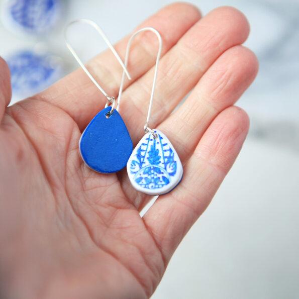 small blue ceramic teardrop long hook sterling silver earrings new next romance jewellery australian made