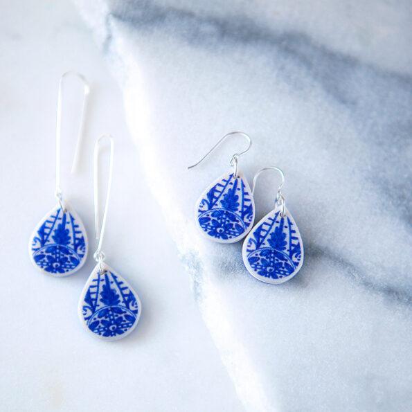 small blue polyresin ceramic look teardrop long hook sterling silver earrings new next romance jewellery australian made