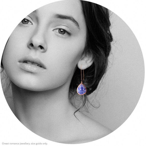 small copper rose blue ceramic teardrop long earring model Next romance jewellery made in australia