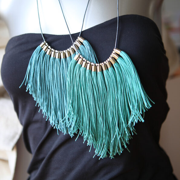 smokey blue or green fringe necklace made in australia tassels handmade in melbourne next romance.jpeg