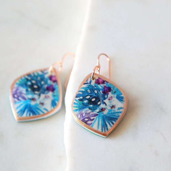 TROPICAL watercolour art earrings marquis teal ROSE GOLD green blue and purple