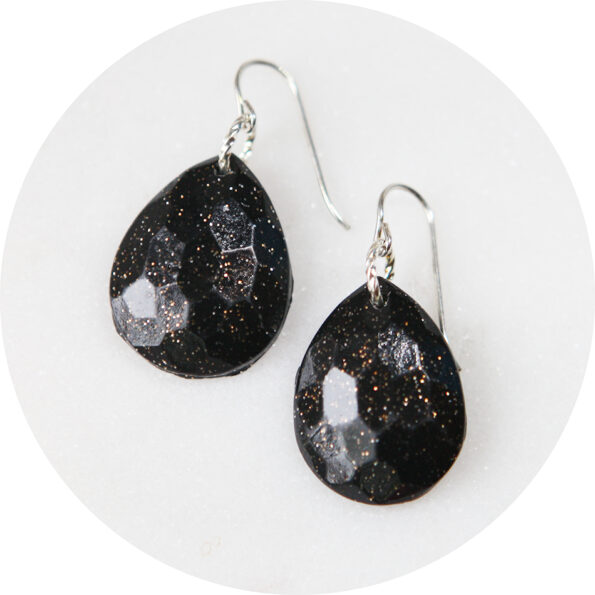 black facet polymer resin teardrop diamond moulded sparkle earrings dangley next romance jewellery australia silver
