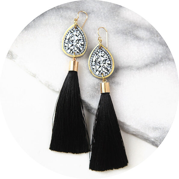 black gold diamond art tassel earrings long NEXT ROMANCE jewellery