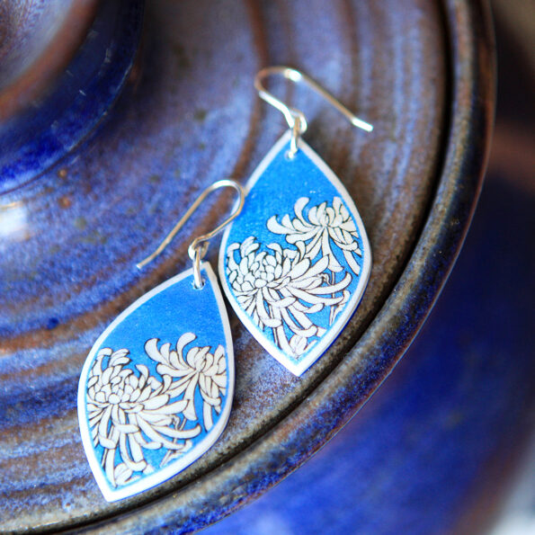chrysanthemum BLUE earrings sterling silver NEXT ROMANCE jewellery australian designs