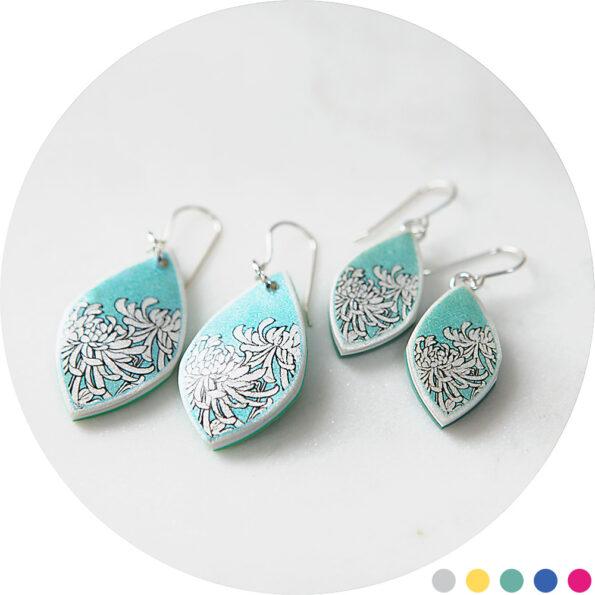 chrysanthemum marquis earrings green NEXT ROMANCE DESIGNS australian jewellery