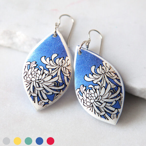 next romance jewellery HERO chrysanthemum blue earrings polyresin