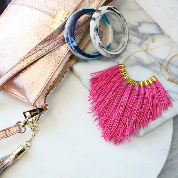 pink gold fringe tassel statement necklace NEXT ROMANCE jewellery insta