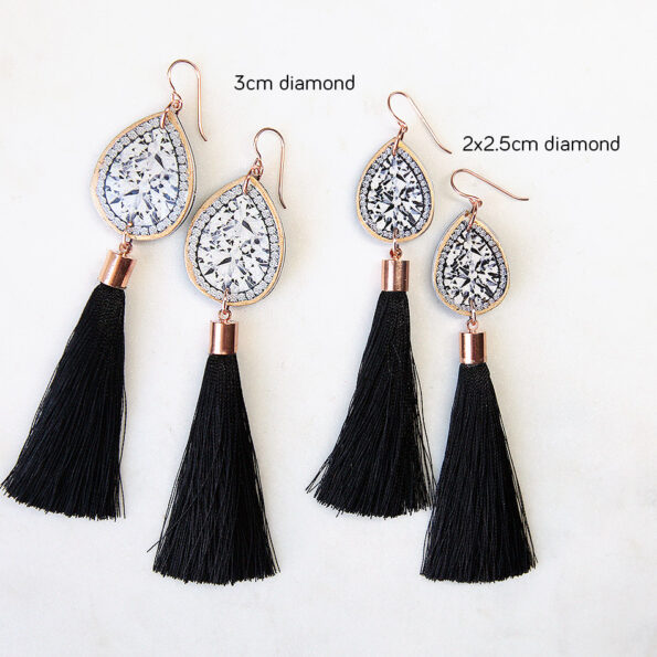 rose gold diamond tassel earrings black silk NEXT ROMANCE
