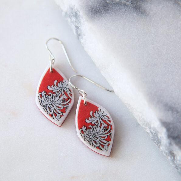 small red green blue silver chrysanthemum earrings polyresin next romance jewellery australia rose street market unique melbourne sydney designs