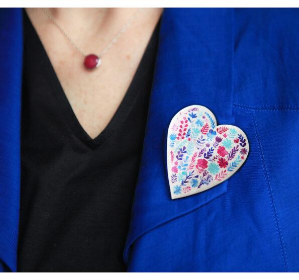 floral heart brooch mothers garden artwork watercolour NEW NEXT ROMANCE jewellery australia handmade artisan