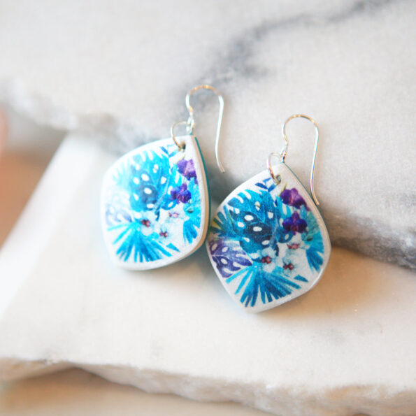 tropical chubby marquis earrings monstera leaf design teal and purples next romance jewellery sizes
