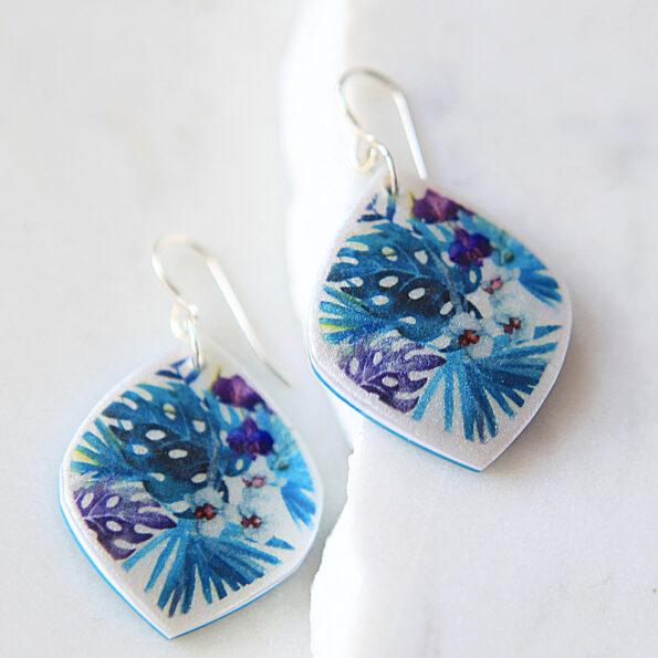 tropical leaf marquis shape art earrings teal purples handmade by Next Romance jewellery Australia