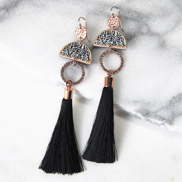 LIMITLESS LUXE statement art tile earrings with BLACK silk tassel