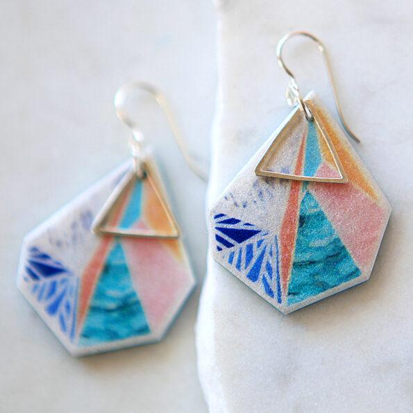 SNOWFLAKE triangle art earrings – peach sunset – rose gold new next romance jewellery made in australia