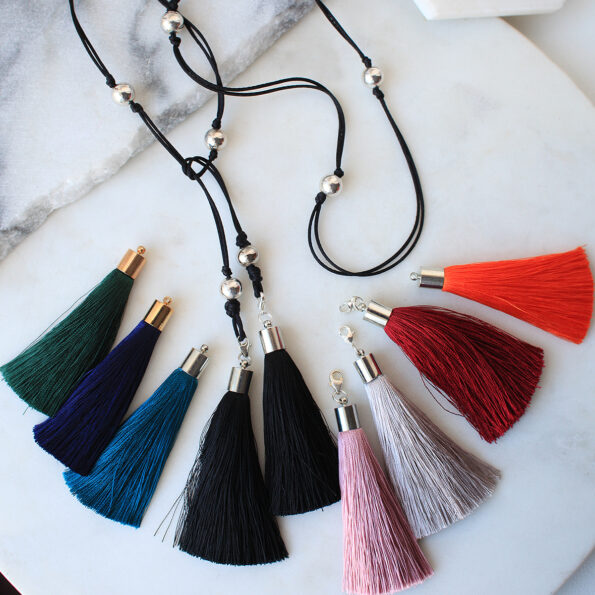 black tassel wrap necklace lariat vicki leigh next romance jewellery australia
