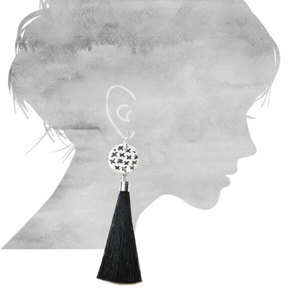 earring sizes for TASSEL black cross earrings NEXT ROMANCE jewellery unique ©